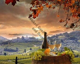 Decorative Ceramic Tile Sublimation - WI_0004 - Glass white wine in a fall vineyard