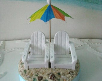 Adirondack Chairs on a Beach Wedding Cake Topper