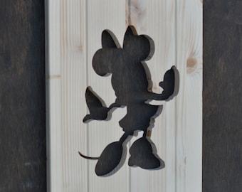 Minnie Mouse Wood Silhouette Disney Cutout
