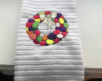 Easter Egg Wreath Ribbed Kitchen Towel