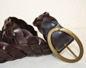 brown braided leather belt, leather braid, women's belt, brown belt, casual belt, women's gift