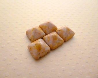Set of 5 Pyramid beads (beadstud) 2 holes 12x12mm A. novel - Rose PB12-1391