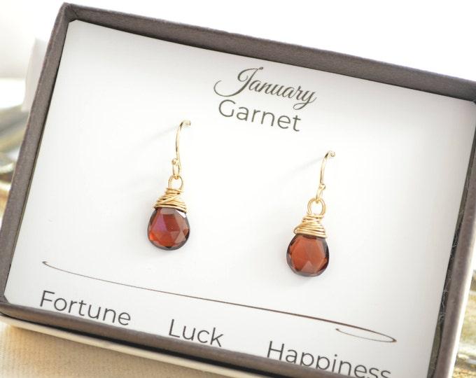January birthstone earrings, Garnet gemstone earrings, Red gemstone earrings, January birthstone gift, 14 K Gold filled wire earrings