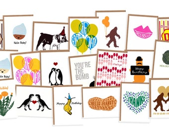 Orange Twist Variety Pack of Five Screenprinted Cards -- Choose from Birthday, Thank You, Love, Wedding, New Baby, and Seattle designs