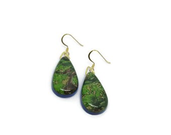 Resin and Marbled Paper Earrings