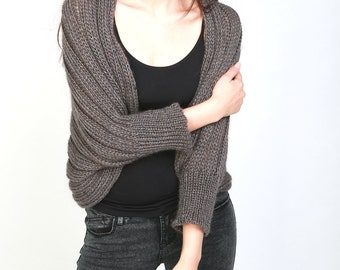 Hand Knit sweater Little cardigan sweater little shrug olive sweater