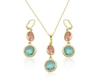 Aquamarine bridal jewelry sets, Crystal gems gold plated jewellery set, Aquamarine jewellery, Wedding gold necklace, Pink crystal necklace