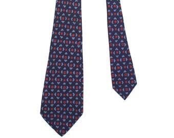 vintage 1940s blue & red silk patterned wide necktie