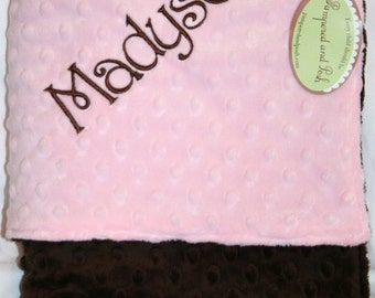 Personalized Monogrammed Pink and Chocolate Minky Crib Blanket