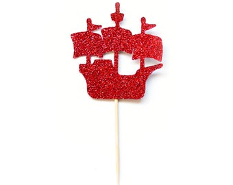 12 Count Glitter Pirate Ship Cupcake Toppers Pirate Ship Party Pirate First Birthday Pirate Decorations Pirate Birthday Party