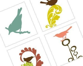 Mod Songbirds One (1x1) Inch or 25mm Pendant Images - Digital Collage Sheet - Buy 2 Get 1 Free - Scrapbooking Images - Instant Download