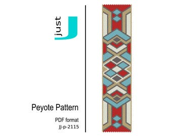 Peyote bracelet pattern, beaded bracelet, bead pattern, peyote bracelet, beading tutorial, pdf download, pdf pattern - JJ-p-2115