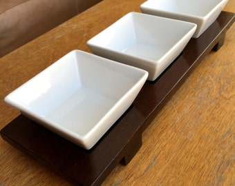 Dipping Bowls Set on Ipe Wood Tray