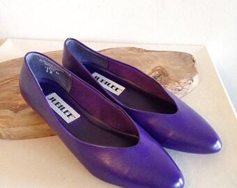 Vintage Royal Purple 1980s Flats Shoes Size 7 1/2