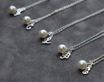 Bridesmaid Jewelry Set, Bridesmaid Initial Necklace, Bridesmaid Gift Set of 9, Sterling Silver Initial Pearl Necklace