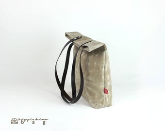 Beige Waxed Canvas Tote Bag with Leather Strap, Shoulder Use, Magnetic Snap Closure, Fully Cotton Lined, Simply Minimalist Useful Large Bag