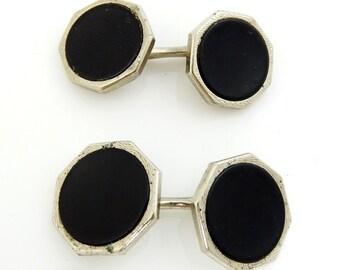 Vintage Swank Loose Link Cufflinks Black Octagon