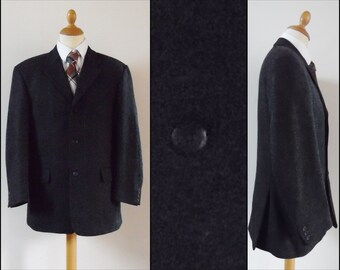 Mans charcoal grey sports jacket wool 'Old River' jacket French wool jacket size 52eu medium