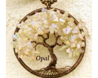 Opal Tree of Life necklace pendant jewellerybynovita wire wrapped