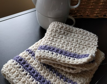 Hand crocheted 100% cotton dish cloth and small towel set, natural and lavender