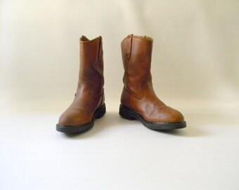 Men's Vintage Wolverine Brown Leather Boots / Size 9.5