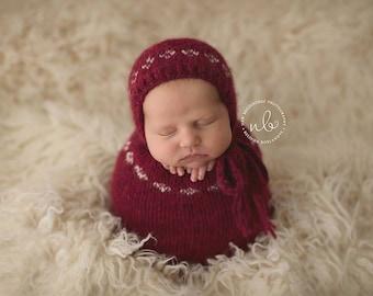 Newborn Swaddle Sack, Photo Prop, Red & Cream, Christmas Prop