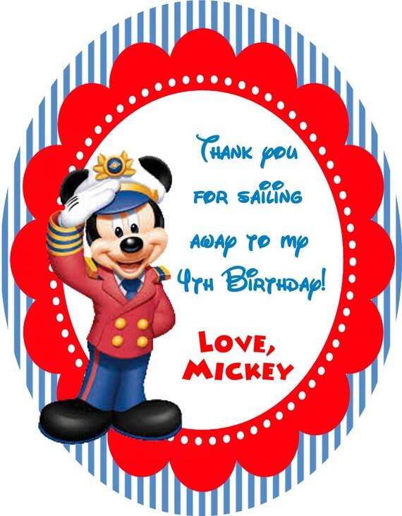 Marinero personalizada Favor fiesta Mickey Mouse etiquetas