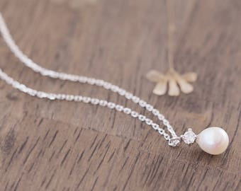 Drop Pearl Necklace 925 Sterling Silver Dainty Jewelry