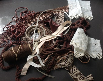 Ribbon and fabric scraps grab bag - Brown, off white, beige