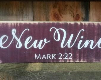 BARNWOOD SCRIPTURE ART - New Wine Wood Shelf Sitter Block - On Sale