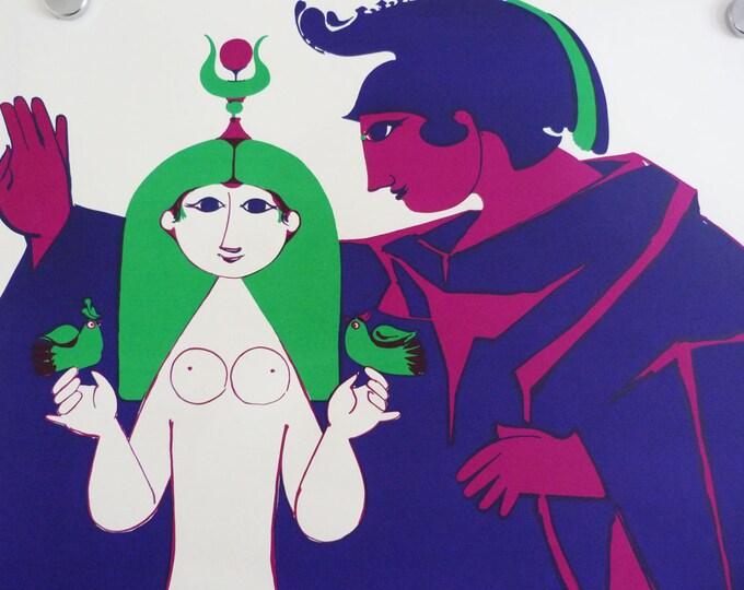Bjorn Wiinblad screen print poster Caesar & Cleopatra