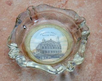 Vintage Souvenir Glass Ashtray Fanueil Hall Boston Mass.