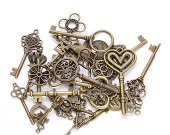 48Pcs Antique Bronze Vintage Steampunk Style Mixed Assorted Random Skeleton Keys Pendants Jewelry Making Supplies Wedding Favors Gifts