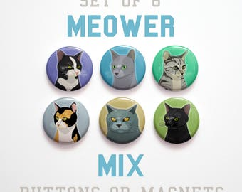 """Pet Gift, Cat Lover Gifts, Gifts for Girls, Gift, Husband Gift, Coworker gift, Cat Buttons 1 inch or Cat Magnets, 6, 1"""" Cat Pins"""
