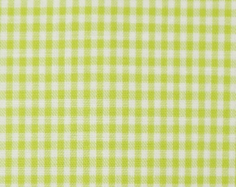 Light green white cotton fabric 2mm squared small - Vichy Karo