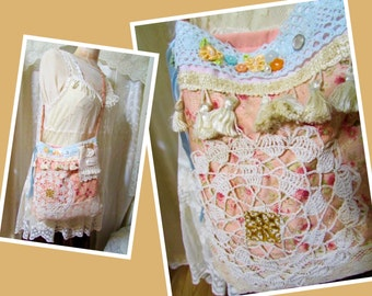 Shabby Chic Purse, Cottage Chic Bag, handmade creme pink coral english rose bag, floral shoulder bag, antique peach