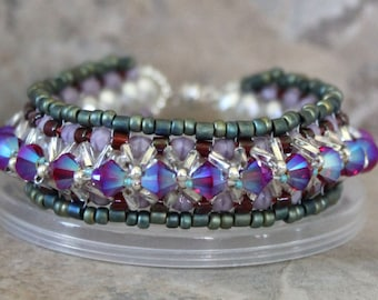 Crystal Layered Bracelet in Siam and Turquoise