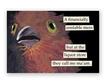 Liquor Store Magnet - Bird - Humor - Gift - Stocking Stuffer - Mincing Mockingbird