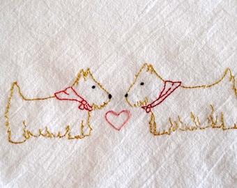 Scottie Dogs Kitchen Towel Hand Embroidery PDF Pattern Valentine's Day