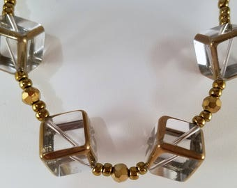 Gold Geometric Statement Necklace and Earring set