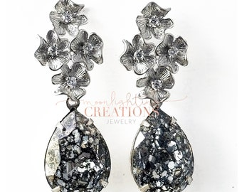 Black Patina Swarovski Silver Rhinestone Earrings, Great Gatsby, Bridal