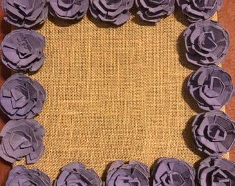 Handmade paper flowers frame