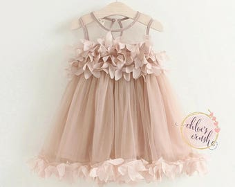 Rose pink little girl dress, baby dress, Sunday dress, wedding dress, flower girl, summer dress, rose dress, baby dress, rose dress, summer