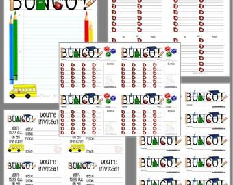 School Rocks Bunco Printable Set, Teacher Bunco Score Cards & Tally Sheet, Instant Download, Editable Bunco Invites