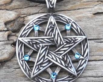 Pewter Double Pentagram Celtic Pagan Pentacle Pendant with Swarovski Crystal Aquamarine Blue MARCH Birthstone (56I)