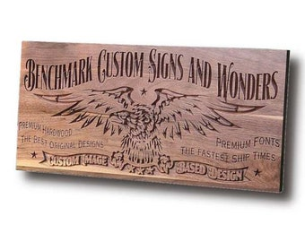Custom Sign: Carved Wooden Sign for Custom Image Based Design Benchmark Signs Walnut CI