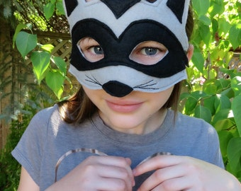 Raccoon Mask - Woodland Mask - Animal Mask - Dress Up - Costume Accessory - Child Size