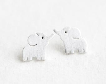 Silver elephant Earrings, Gold elephant earrings, Elephant jewelry, elephant stud earrings, elephant studs, cute earrings, Elephant necklace