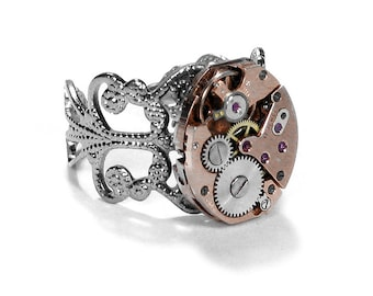 Steampunk Jewelry Ring Vintage Jewelry ROSE GOLD Watch Silver Filigree Band Steam Punk Wedding Mother Father - Jewelry by Steampunk Boutique