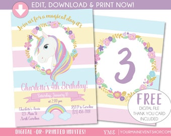 Unicorn Invitation, Unicorn Party Invite, Magical Rainbow Unicorn Birthday Invitation Printable, Editable Instant Download